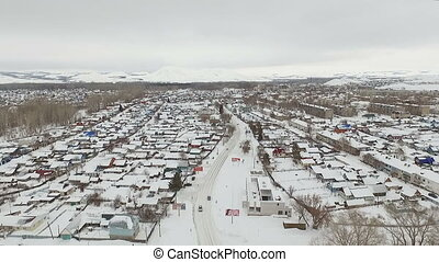 Aerial shot of little city - Aerial shot of winter little...