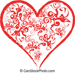 Pattern Heart - White valentines background with pattern...