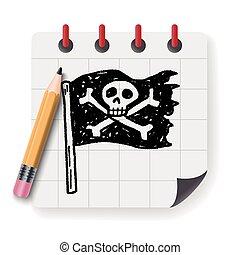 skull flag doodle