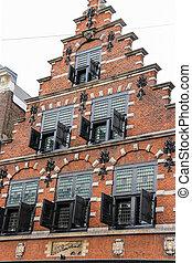 Beautiful old building on Kruisstraat street in Haarlem, the...