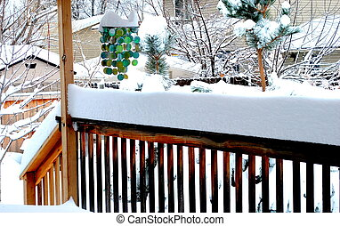 Winter snow. - Winter snow outside on patio deck.