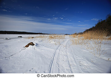 landscape snow forest road and blue sky