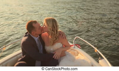 Lovers Lying in the Boat and Kissing.
