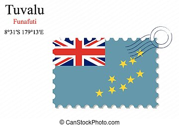 tuvalu stamp design over stripy background, abstract vector...