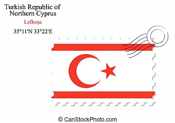 turkish republic of northern cyprus stamp design over stripy...