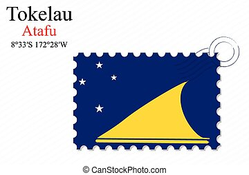 tokelau stamp design over stripy background, abstract vector...
