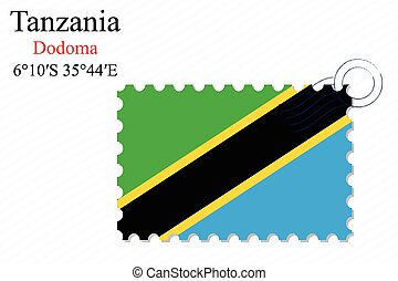 tanzania stamp design over stripy background, abstract...