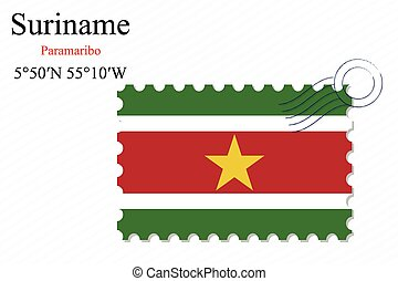 suriname stamp design over stripy background, abstract...
