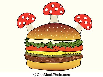 Hamburger with fly agarics - Conceptual illustration with a...