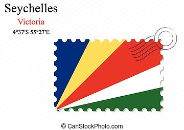 seychelles stamp design over stripy background, abstract...