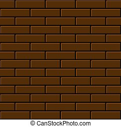 Seamless Brown Brick Wall Background. Vector