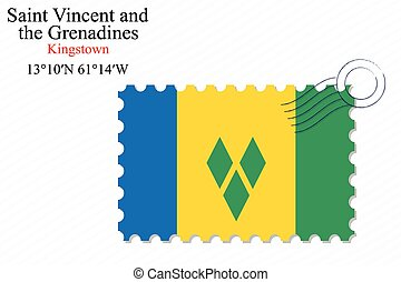 saint vincent and the grenadines stamp design over stripy...