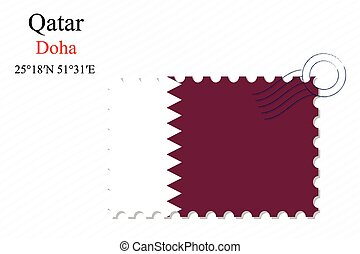 qatar stamp design over stripy background, abstract vector...