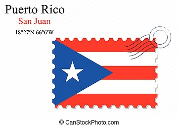 puerto rico stamp design over stripy background, abstract...