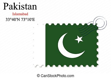 pakistan stamp design over stripy background, abstract...