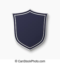 Blank, blue shield isolated on white background.