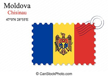 moldova stamp design over stripy background, abstract vector...