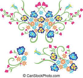 flor, bordado, gráfico, diseño