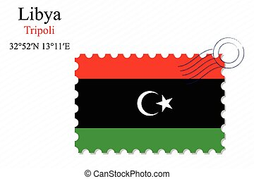 libya stamp design over stripy background, abstract vector...