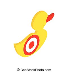 Yellow duck target isometric 3d icon