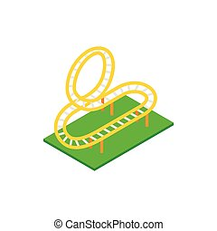 Rollercoaster isometric 3d icon on a white background