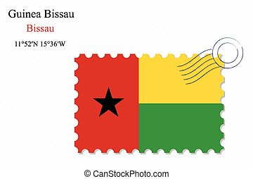 guinea bissau stamp design over stripy background, abstract...