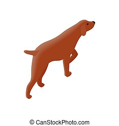 Hunting dog isometric 3d icon on a white background