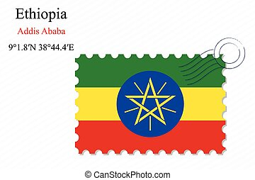 ethiopia stamp design over stripy background, abstract...