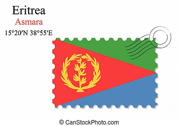 eritrea stamp design over stripy background, abstract vector...