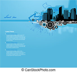 Blue background with city and place for your text.