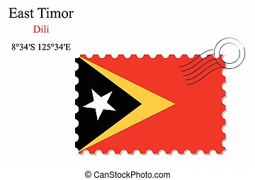 east timor stamp design over stripy background, abstract...