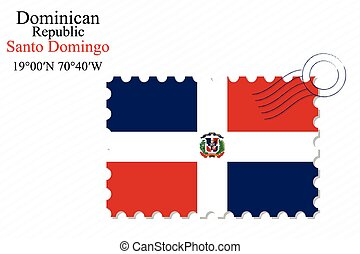 dominican republic stamp design over stripy background,...