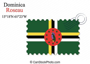 dominica stamp design over stripy background, abstract...