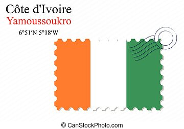 cote divoire stamp design over stripy background, abstract...