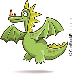 Funny green dragon, vector, isolated on white