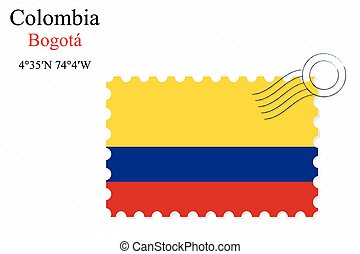 colombia stamp design over stripy background, abstract...