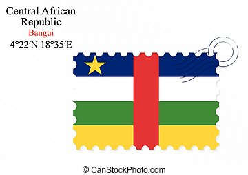 central african republic stamp design over stripy...