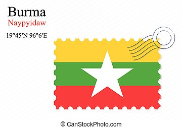 burma stamp design over stripy background, abstract vector...