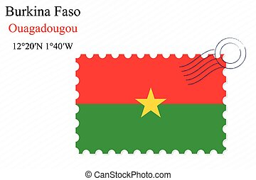 burkina faso stamp design over stripy background, abstract...