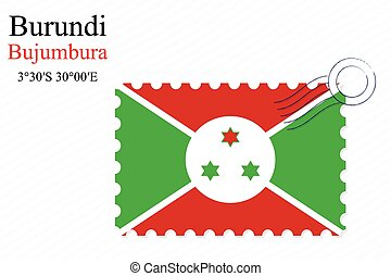 burundi stamp design over stripy background, abstract vector...