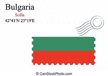 bulgaria stamp design over stripy background, abstract...