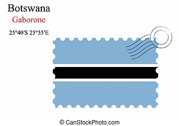 botswana stamp design over stripy background, abstract...