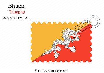 bhutan stamp design over stripy background, abstract vector...