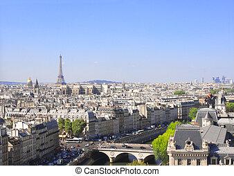 Overlooking Paris up on Notre Dame de Paris, France -...