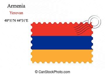 armenia stamp design over stripy background, abstract vector...