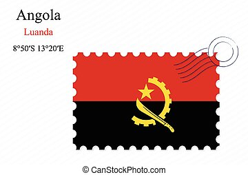 angola stamp design over stripy background, abstract vector...