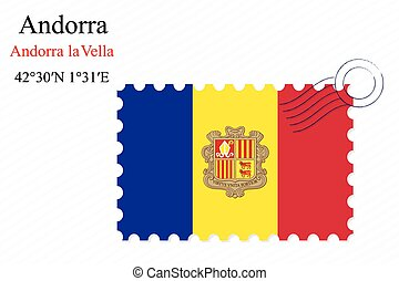 andorra stamp design over stripy background, abstract vector...