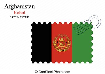 afghanistan stamp design over stripy background, abstract...