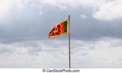 Sri Lanka flag flapping in the wind - Developing the flag of...