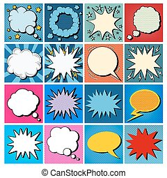 Big Set of Comics Bubbles in Pop Art Style